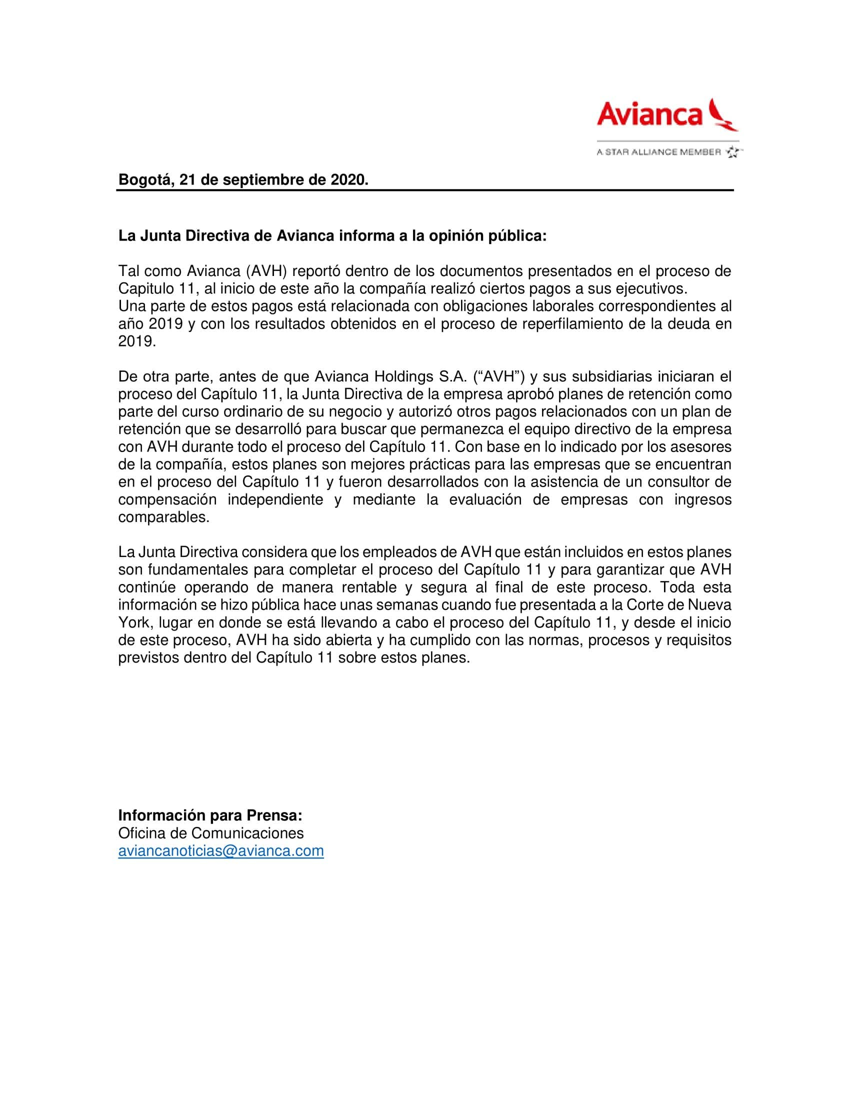 Comunicado Avianca